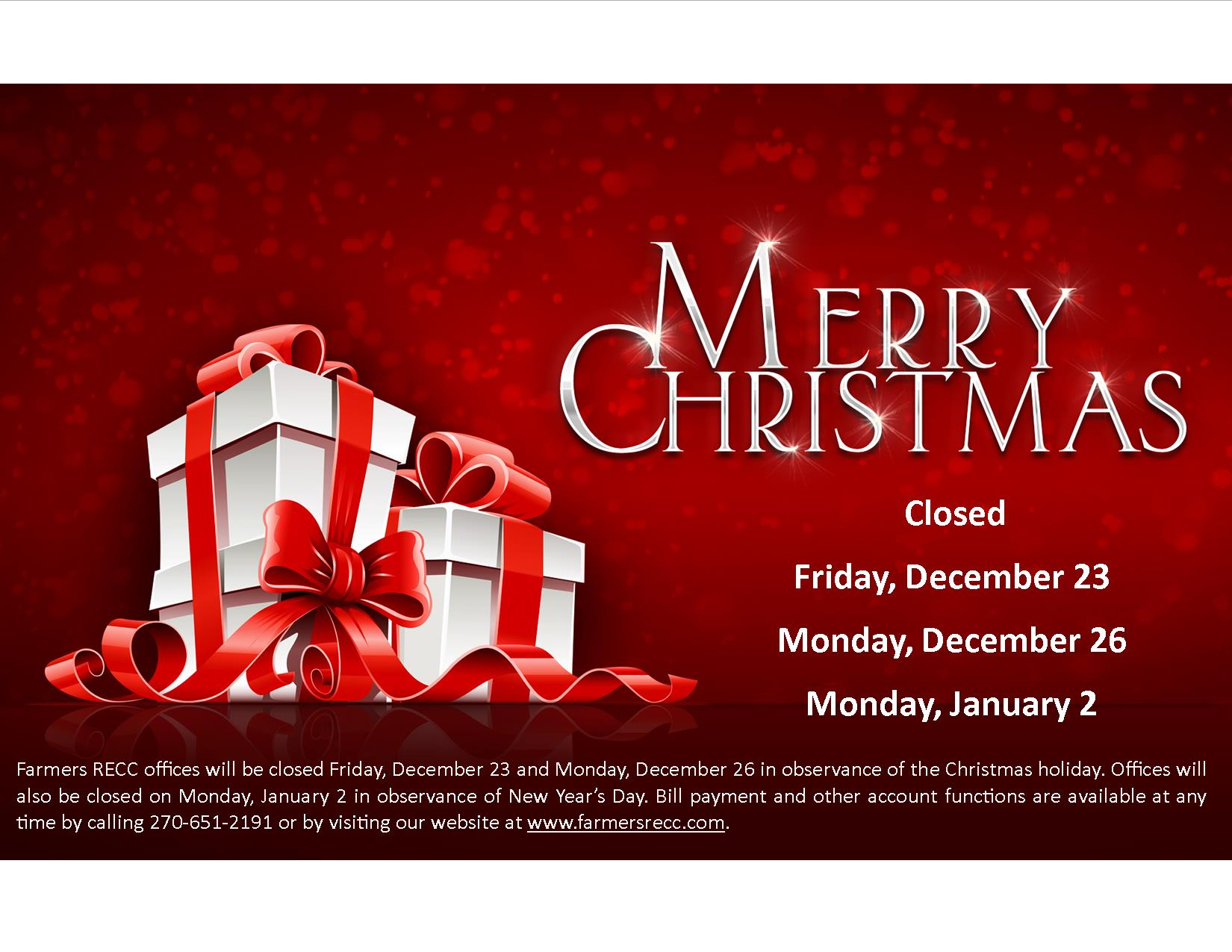 Merry Christmas Farmers Rural Electric Cooperative Corporation